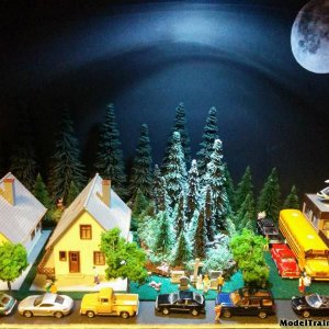 Z Scale Flying Train Night Time Scene