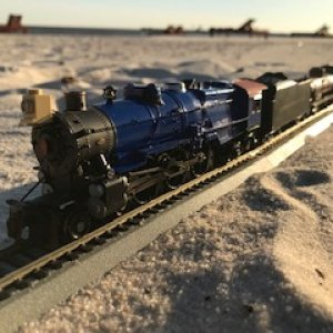 Pennsy Polar Blue K4 beach freight train